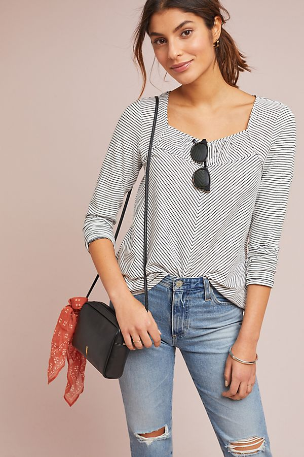 Frauen-quadratischer Hals-langärmlige dünne Bluse mit