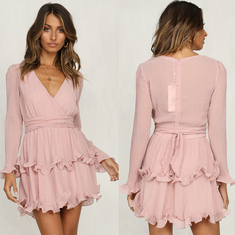 Fashion women Long Sleeve V neck Pink Vintage Dress